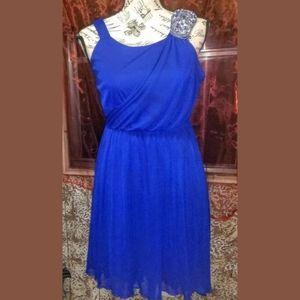 JUNIORS Formal Blue Midi Rhinestone Dress